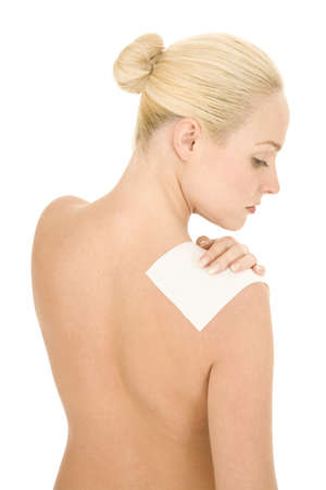 naked woman with patch on the shoulder photo