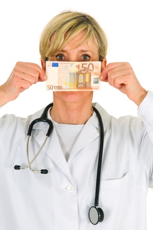 female doctor holding banknotes Stock Photo - 9533417
