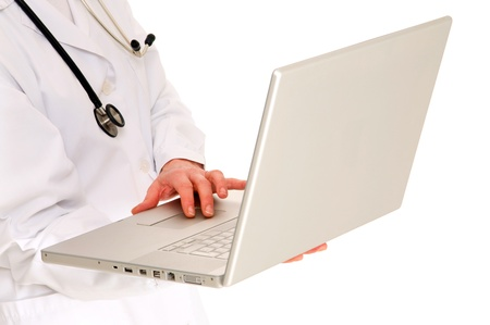 female doctor with stethoscope holding a laptop photo
