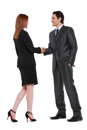 businessman and businesswoman shaking hands Stock Photo - 9858887