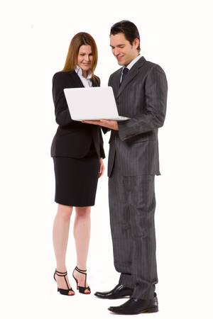 tailleur: businessman and businesswoman with laptop Stock Photo