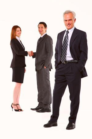 tailleur: two businessman and one businesswoman Stock Photo
