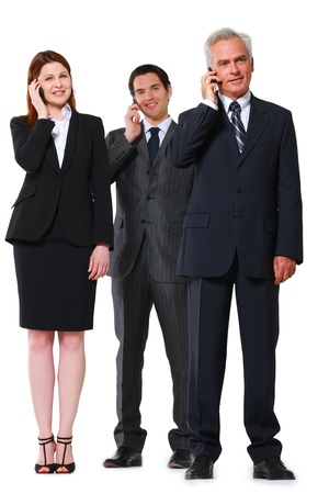 two businessman and one businesswoman with mobile photo