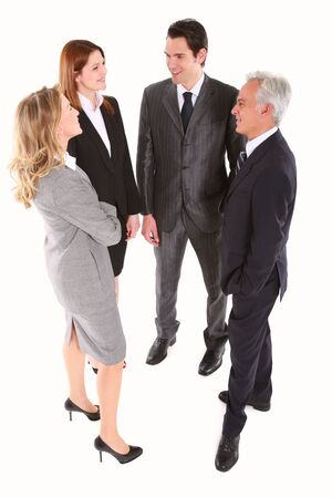 tailleur: businessman and businesswoman standing chatting