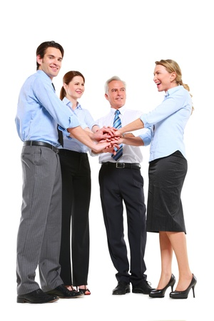 businessman and businesswoman with hands joined photo