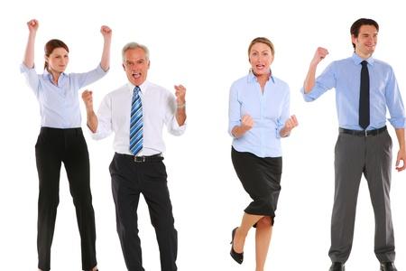 enthusiasm: businessman and businesswoman exulting