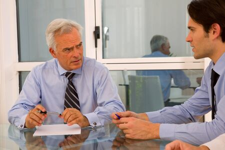 serious meeting: two businessman during a meeting