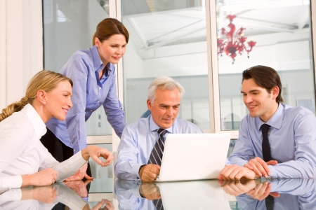 businessman and businesswoman during a working meeting photo