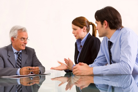 two men and one woman during a job interview Stock Photo - 9859100