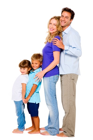 couple with two children photo
