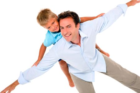 father with son on back photo