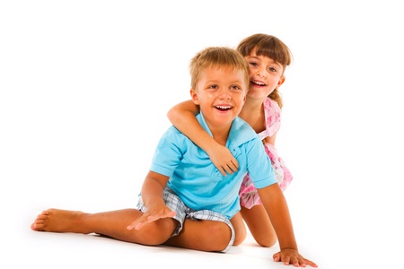 boy barefoot: brother and sister Stock Photo