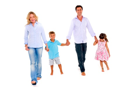 walk in: family with two children