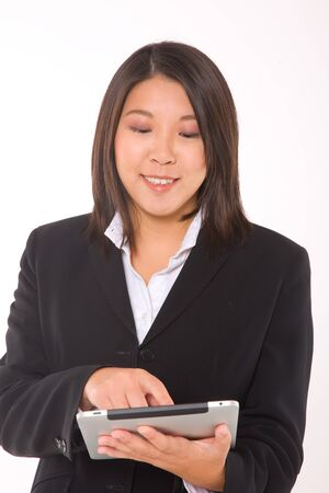 asian businesswoman with tablet photo