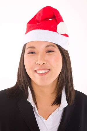 asian businesswoman with santa hat Stock Photo - 11558817