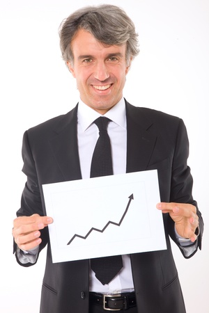 man 40 50: businessman with chart