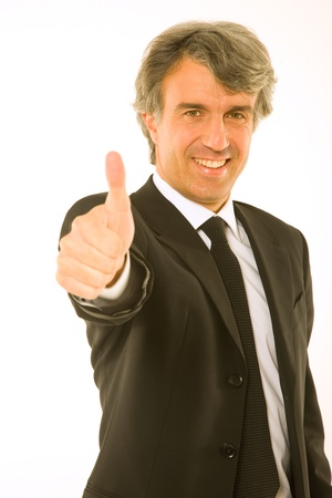 man 40 50: businessman with thumb up
