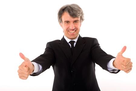 man 40 50: businessman thumbs up