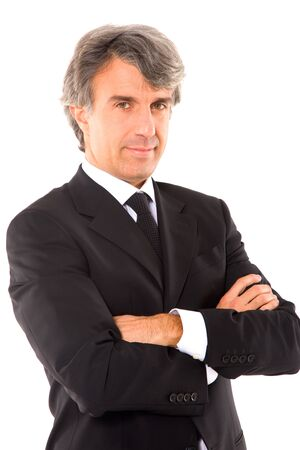 seriousness: businessman with arms crossed Stock Photo