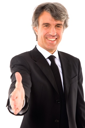 man 40 50: businessman holds out his hand