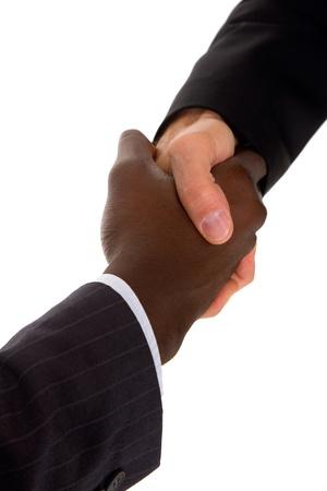 manos trabajo: hombres de negocios apret�n de manos