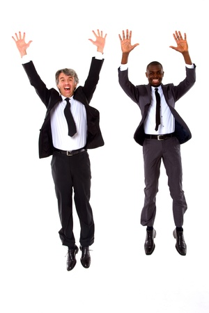 enthusiasm: two businessmen jumping