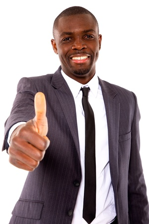 pulgar levantado: hombre de negocios con el pulgar arriba Foto de archivo