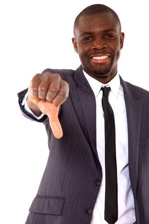 pulgar abajo: hombre de negocios con el pulgar hacia abajo Foto de archivo
