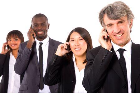 multi-ethnic team with mobile Reklamní fotografie