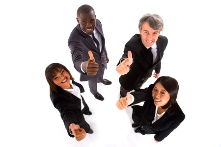 multi-ethnic team with thumbs up
