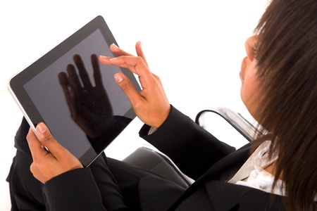 businesswoman with tablet photo