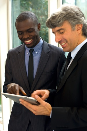 businessmen with tablet Stock Photo
