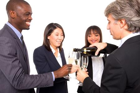 multi-ethnic team toasting photo