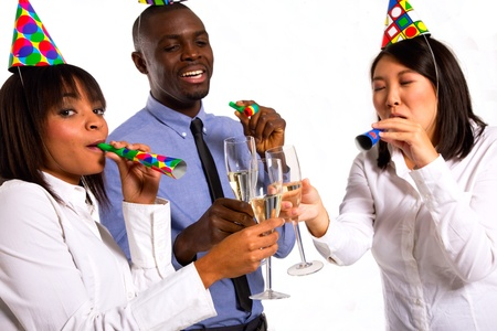 chinese american: working team celebrating