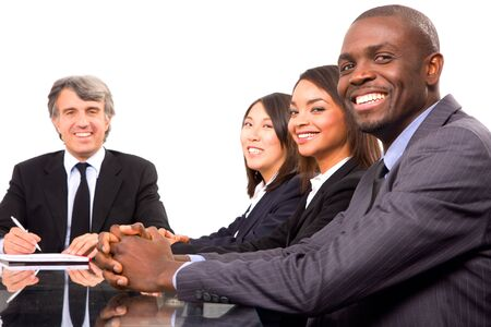 mixed race people: multi-ethnic team during a meeting