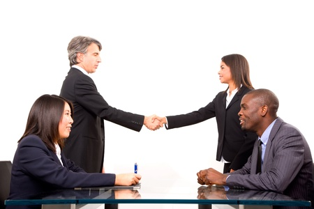 sitted: multi-ethnic team during a meeting