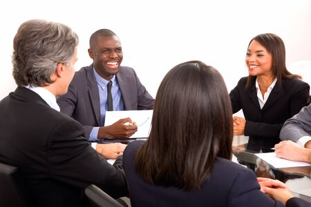 chinese american: multi-ethnic team during a meeting