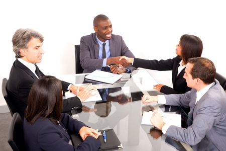 african american woman business: multi-ethnic team during a meeting