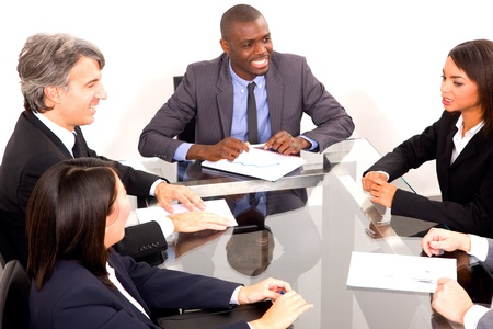 man 40 50: multi-ethnic team during a meeting