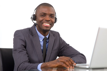 businessman with headset microphone photo