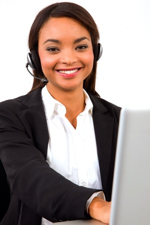 businesswoman with headset microphone photo