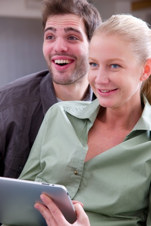 good life: couple with digital tablet Stock Photo