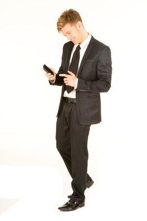 businessman with smartphone photo