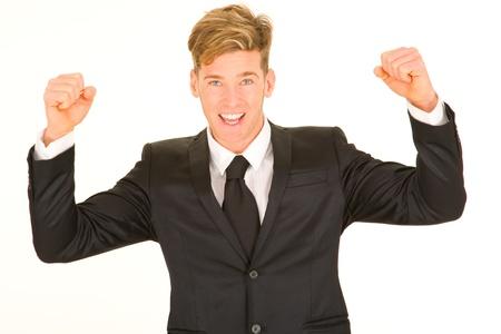 rejoices: businessman rejoices