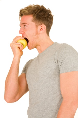 young maneating an apple photo