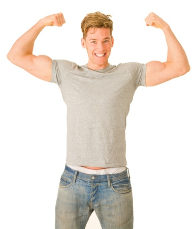 only the biceps: young man showing his biceps