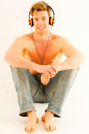 barechested: bare-chested man with headphones