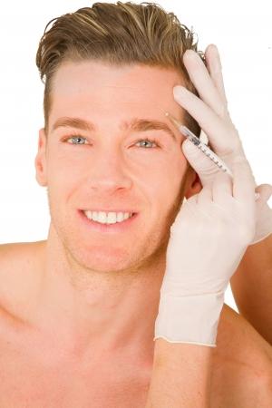 botox: young man doing botox injections