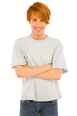 teenage boy: teenage boy with arms folded