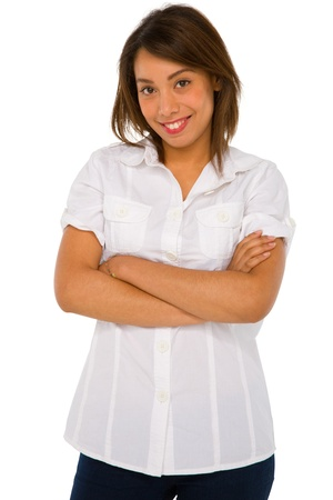 teenage girl with arms folded photo
